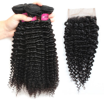 Peruvian Kinky Curly Hair 3 Bundles With 4x4 Lace Closure - ExcellentVirginHair