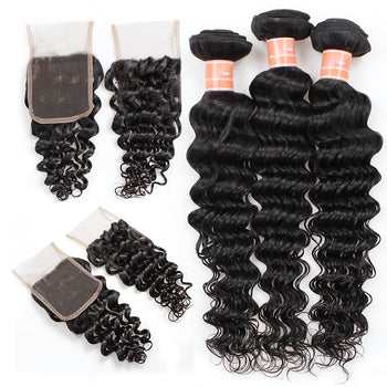 Ama Indian Deep Wave Hair 4 Bundles with Lace Closure - ExcellentVirginHair