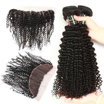 Funmi Indian Virgin Kinky Curly Hair 3 Bundles With Lace Frontal - ExcellentVirginHair