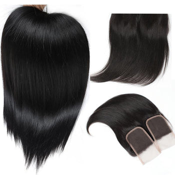 Best Indian Virgin Straight Hair 3 Bundles with 4x4 Lace Closure - Urfirst Hair
