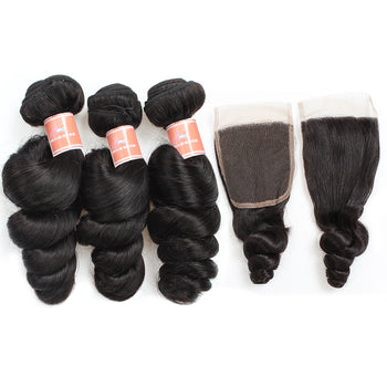 Ama Peruvian Loose Wave Human Hair 3 Bundles With Lace Closure - ExcellentVirginHair