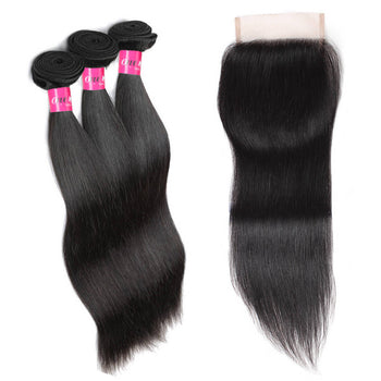 Peruvian Straight Hair 3 Bundles With 4x4 Lace Closure - ExcellentVirginHair