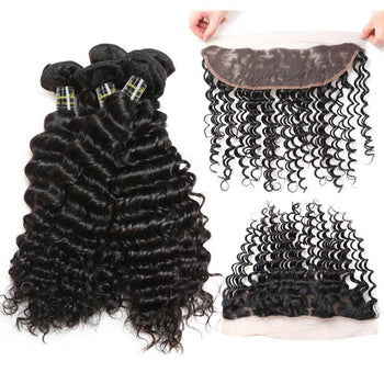 Funmi Peruvian Virgin Deep Wave Hair 3 Bundles With Lace Frontal - ExcellentVirginHair