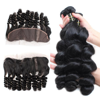 Funmi Indian Virgin Loose Wave Hair 3 Bundles With Lace Frontal - ExcellentVirginHair