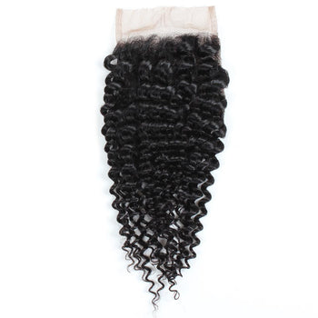 Peruvian Curly Hair Lace Closure 4x4 Swiss Lace Closure Human Hair - ExcellentVirginHair