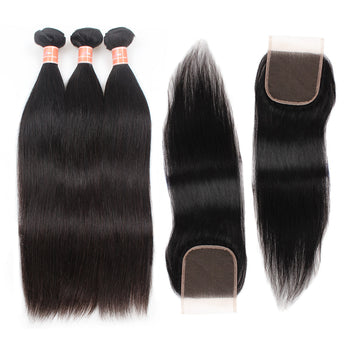 Ama Malaysian Straight Hair 4 Bundles with Lace Closure - ExcellentVirginHair