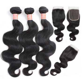 Ama Malaysian Body Wave Human Hair 4 Bundles with Lace Closure - ExcellentVirginHair