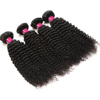 Sweetie Malaysian Unprocessed Kinky Curly Virgin 4 Bundles Human Hair Weave