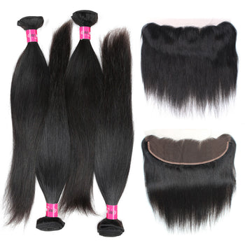 Peruvian Straight Virgin Hair 3 Bundles With 13x4 Lace Frontal - ExcellentVirginHair