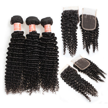 Ama Peruvian Kinky Curly Hair 4 Bundles with Lace Closure - ExcellentVirginHair