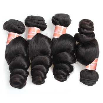 Ama Malaysian Loose Wave Virgin Hair Remy Extensions 4 Bundles Human Hair - ExcellentVirginHair