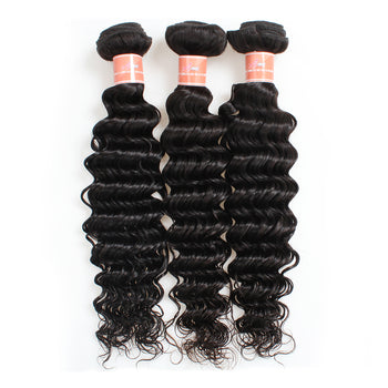 Ama Indian Virgin Deep Wave Human Hair Extensions 3 Bundles - ExcellentVirginHair