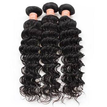 Ama Indian Deep Wave Virgin Hair 2 Bundles with 360 Lace Frontal Closure - ExcellentVirginHair