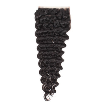 Ama Brazilian Deep Wave Human Hair Lace Closure 4x4 Lace Closure 1pc/lot - ExcellentVirginHair