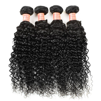 Indian Kinky Curly Human Hair 4 Bundles with Lace Closure - ExcellentVirginHair