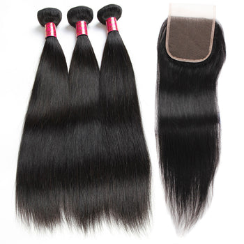 Sweetie Brazilian Straight Hair 3 Bundles With 4x4 Lace Closure - ExcellentVirginHair
