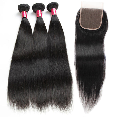 Malaysian Straight Hair 3 Bundles With 4x4 Lace Closure
