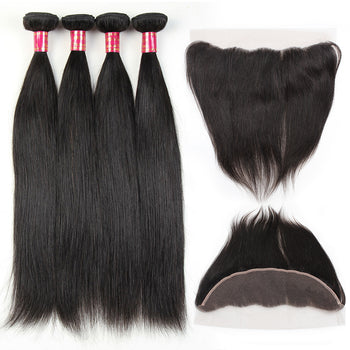 Sweetie Malaysian Straight Virgin Hair 3 Bundles With 13x4 Lace Frontal
