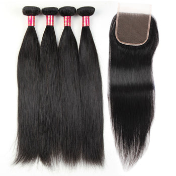 Sweetie Indian Straight Hair 4 Bundles With Lace Closure - ExcellentVirginHair