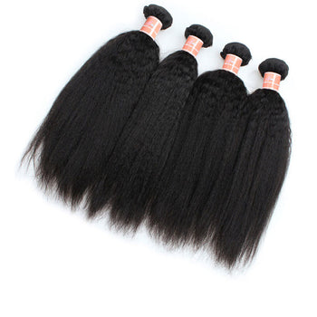 Ama Indian Virgin Human Hair Yaki Straight 4 Bundles - ExcellentVirginHair