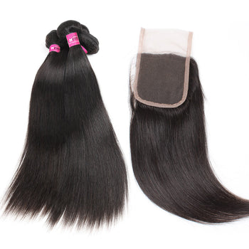 Malaysian Straight Hair 3 Bundles With 4x4 Lace Closure - ExcellentVirginHair
