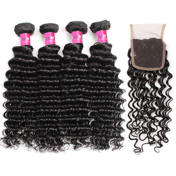 Malaysian Deep Wave Hair 4 Bundles With Lace Closure - ExcellentVirginHair