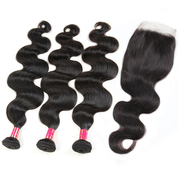 Sweetie Peruvian Body Wave Hair 3 Bundles With 4x4 Lace Closure