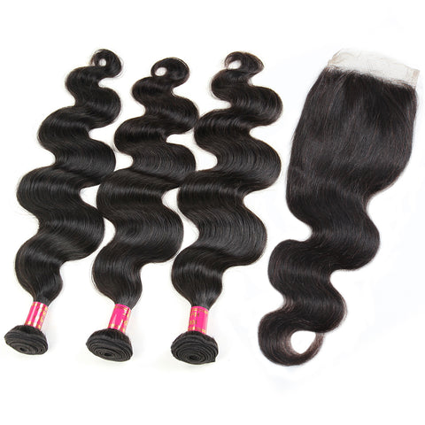 Malaysian Body Wave Hair 3 Bundles With 4x4 Lace Closure