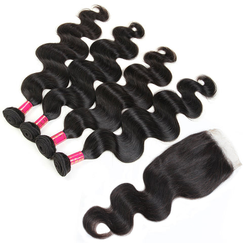Malaysian Body Wave Hair 4 Bundles With Lace Closure