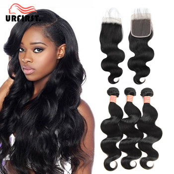 Urfirst Malaysian Virgin Hair Body Wave 4 Bundles with 4*4 Lace Closure