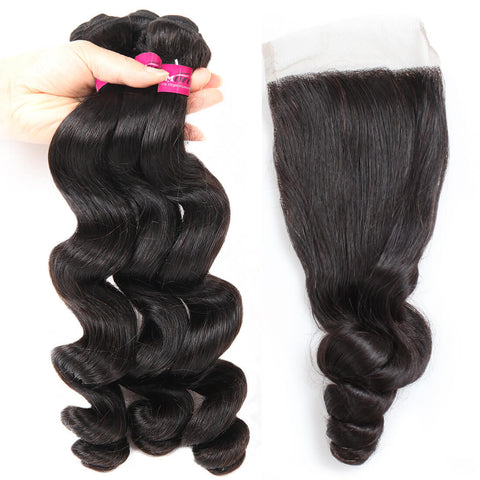 Peruvian Loose Wave Hair 3 Bundles With 4x4 Lace Closure
