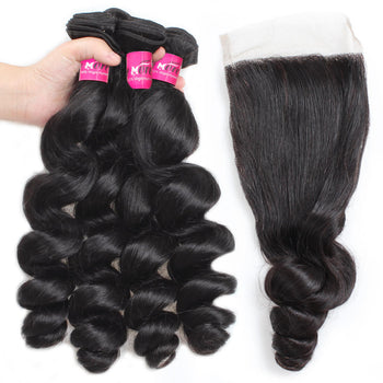 Malaysian Loose Wave Hair 4 Bundles With Lace Closure - ExcellentVirginHair