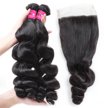 Indian Loose Wave Hair 4 Bundles With Lace Closure - ExcellentVirginHair