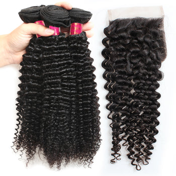 Sweetie Indian Kinky Curly Hair 3 Bundles With 4x4 Lace Closure - ExcellentVirginHair