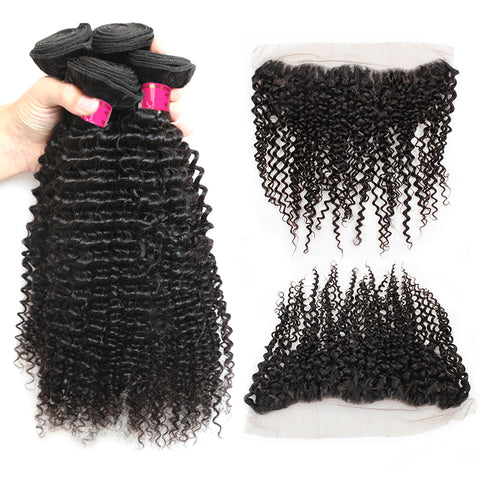 Malaysian Curly Wave Virgin Hair 3 Bundles With 13x4 Lace Frontal