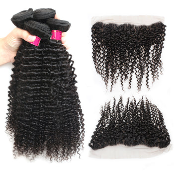 Sweetie Indian Curly Wave Virgin Hair 3 Bundles With 13x4 Lace Frontal - ExcellentVirginHair
