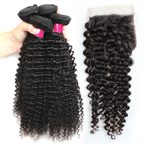 Malaysian Kinky Curly Hair 4 Bundles With Lace Closure