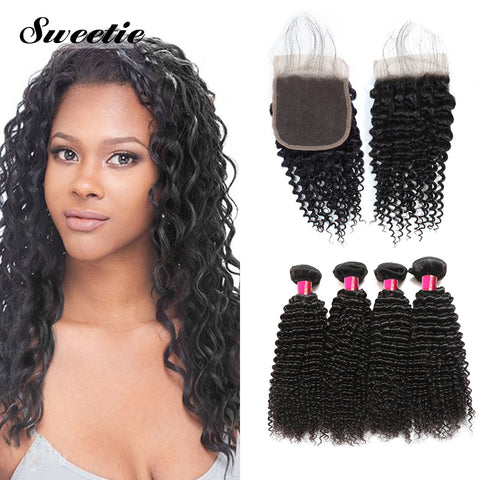 Sweetie Malaysian Kinky Curly Hair 3 Bundles With 4x4 Lace Closure