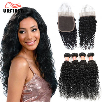 Urfirst Brazilian Kinky Curly Hair 4 Bundles With Lace Closure Natural Black