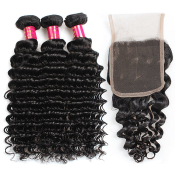 Sweetie Peruvian Deep Wave Hair 3 Bundles With 4x4 Lace Closure