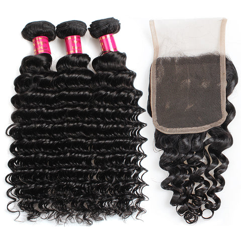 Peruvian Deep Wave Hair 3 Bundles With 4x4 Lace Closure