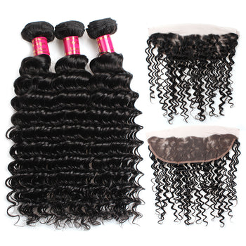Sweetie Malaysian Deep Wave Virgin Hair 3 Bundles With 13x4 Lace Frontal - ExcellentVirginHair