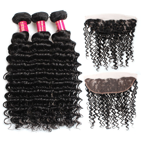 Malaysian Deep Wave Virgin Hair 3 Bundles With 13x4 Lace Frontal