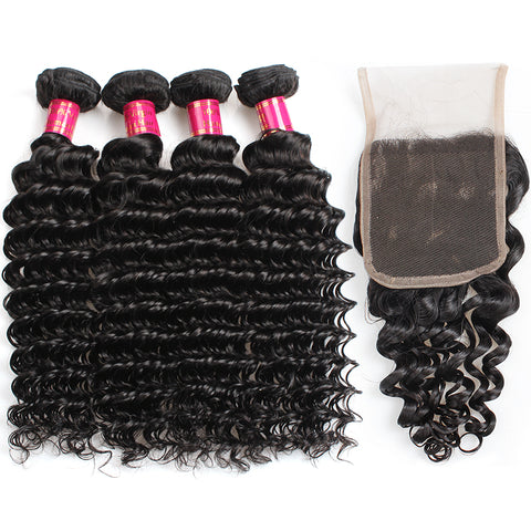 Peruvian Deep Wave Hair 4 Bundles With Lace Closure