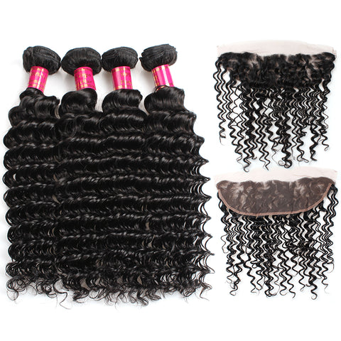 Peruvian Deep Wave Virgin Hair 3 Bundles With 13x4 Lace Frontal