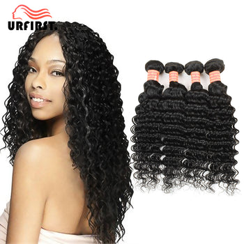 "Urfirst Malaysian Virgin Hair Deep Wave 4pcs/lot for Sale 8""-28"" Natural Black"