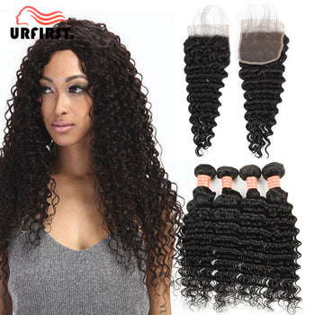 Urfirst Malaysian Virgin Hair Deep Wave 4 Bundles With Lace Closure Natural Black