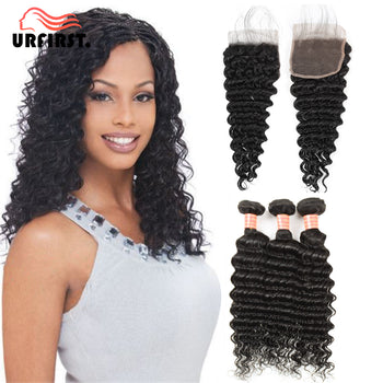 Urfirst Indian Virgin Human Deep Wave 3 Bundles with 4x4 Lace Closure