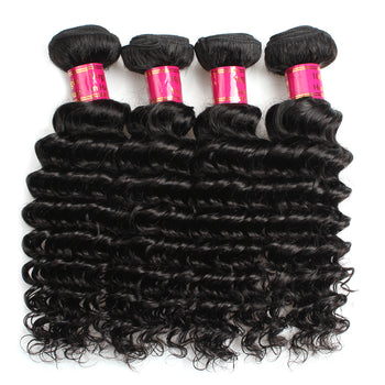 Sweetie Brazilian Deep Wave Virgin Hair 4 Bundles Deals Human Hair Weaving Extensions - ExcellentVirginHair
