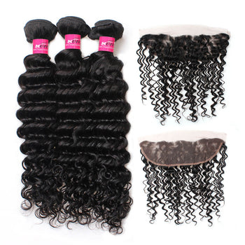Brazilian Deep Wave Virgin Hair 3 Bundles With 13x4 Lace Frontal - ExcellentVirginHair